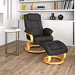 top rated Flash furniture contemporary reclining armchair and ottoman, rotating base made of black maple wood. 2021