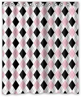 Vandarllin Geometric Argyle Plaid Pattern Shower Curtain Set with Hooks,Black/Pink/White Printed Bathroom Decor, Polyester Fabric