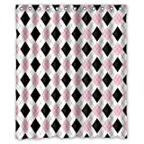 Vandarllin Geometric Argyle Plaid Pattern Shower Curtain Set with Hooks,Black/Pink/White Printed Bathroom Decor, Polyester Fabric