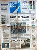 VOIX DU NORD (LA) [No 16112] du 04/04/1996 - LE PALMARES DES LYCEES - LE DROIT A UN...