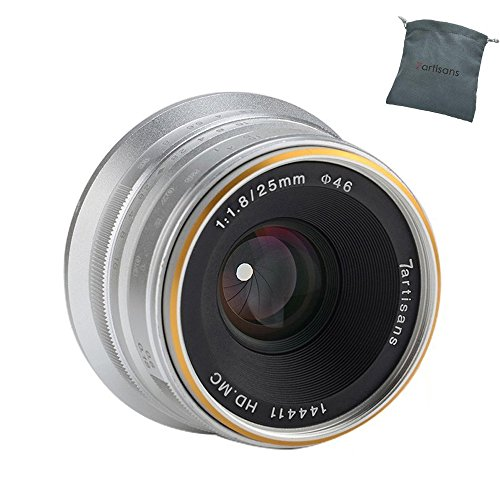 7artisans 25mm F1.8 APS-C Manual Fixed Lens for Fuji Cameras X-A1 X-A10 X-A2,X-A3 X-at X-M1 XM2 X-T1 X-T10 X-T2 X-T20 X-Pro1 X-Pro2 X-E1-Silver