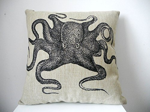 loQuenn Quadrato copriletto in Cotone Federa Decorativo Custodia di Cuscino Federa per Divano Octopus 45,7x 45,7cm