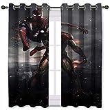 Cortinas térmicas con ojales Peter Parker y Tony Stark Spider Man Iron Man Set de 2 paneles de 46 pulgadas de ancho x 72 pulgadas de largo