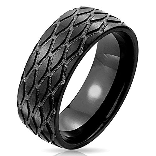 BlackAmazement Edelstahl Ring Reifen Rad Profil Tire Wheel Biker Black IP schwarz Herren (63 (20.1))