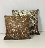 Gaucho Cowhides Snowie Brown & White Genuine Cowhide Pillow Cover - 16x16 Inches or 20x20 Inches (16x16)