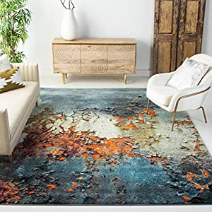 Safavieh Glacier Collection GLA125B Modern Abstract Non-Shedding Stain Resistant Living Room Bedroom Area Rug, 8′ x 10′, Blue / Multi