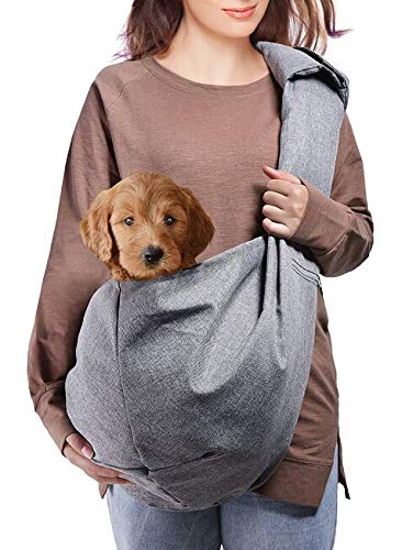 Dog Sling Carrier, Lightweight Pet Purse with Adjustable Quilted Shoulder Strap and Zippered Pocket...