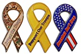 Novel Merk 3-Piece Support Our Troops Patriotic Ribbon Lapel or Hat Pin &Tie Tack Set with Clutch Back