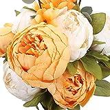 Veryhome Ramos de peonía artificial vintage de seda para decoración de boda, mesa de cocina, oficina, jardín, nupcial (naranja-blanco)