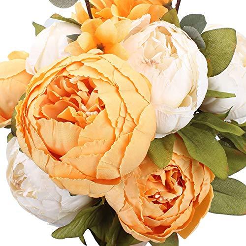 Veryhome Künstliche Blume Pfingstrose Gefälschte Blume Hochzeit Blumenstrauß Dekoration Familie Tabelle Öffentlich Auto Küche Büro Garten Innen Im Freien Braut Begrünung Pflanzen (Orange-weiß)