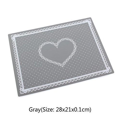 Tapis de table en silicone lavable en forme de cœur Gris 28 x 21 cm