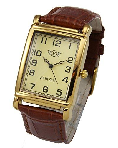 Eriksen Reloj de vestir de cuarzo analógico rectangular para hombre Correa de cuero MCG