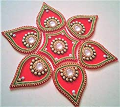 PRAHLL Acrylic Rangoli Flower Shape (10 inch Diameter, RED) -Set of 7 Pieces