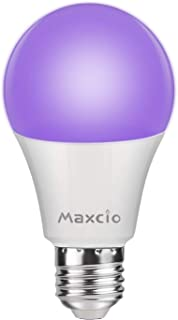 Maxcio 11W Bombilla de Luz Ultravioleta, E27 Bombilla Ultravioleta con Efecto Fluorescente, LED Iluminación Ultravioleta Nivel UV-A Bajo Comsumo para Halloween Navidad Fiesta Arte Discoteca(1 pack)