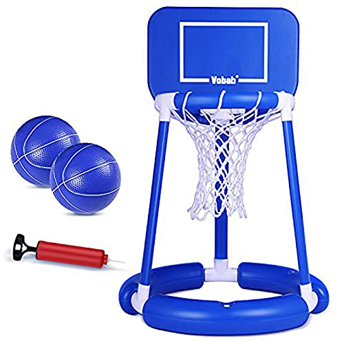 JUOIFIP Pool Basketball Hoop Floating Basketball Hoop with Board Swimming Pool Water Game Set for Outdoor with 2 Balls & Pump Pool Toys for Kids Family Pool