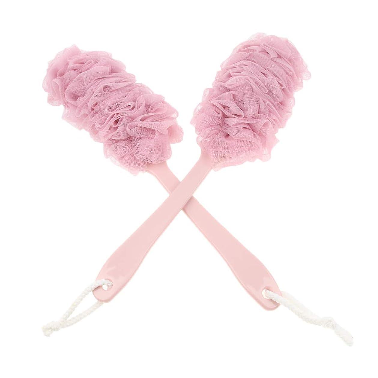 Fenteer 2個 バスシャワースポンジ パフ スクラバーブラシ ソフト 泡を作り 3色選べ - ピンク