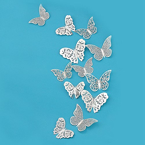pinkblume Silver Butterfly Decorations Stickers 3D Butterfies Wall Decor DIY Home Decorations Removable Wall Decals Murals for Home Living Room Babys Kids Bedroom Showcase Nursery Art Decor (36PCS)
