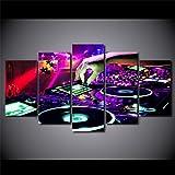 RGBVVM Cuadro sobre Lienzo 5 Piezas XL - 150x80cm Consola de música Cuadros Modernos Impresión de Im...