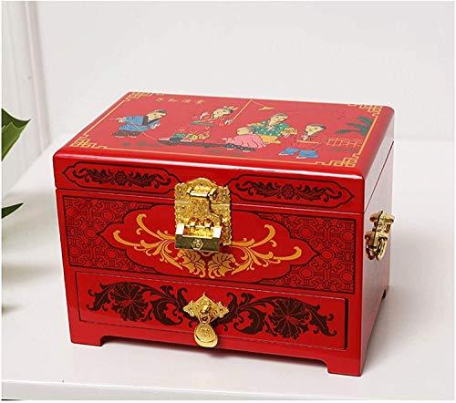 JISHIYU - Q Joyero antiguo joyero de madera oriental con espejo de laca roja pintado a mano regalo para familiares y amigos (color: E)