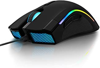 Delux RGB Gaming Mouse with 24000 DPI, 7 Programmable Buttons and Pro Game Software, Wired Ergonomic Optical Gamer Comfortable Grip Mice for PC Laptop Computer (M625BU(3360)-Black)