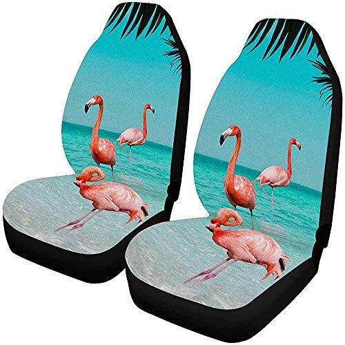 2pcs Benutzerdefinierte Hawaii Flamingo Blätter Autositzbezüge für vorne, Fahrzeug Sitzschutz Auto Matte passen die meisten Auto, LKW, SUV, Van
