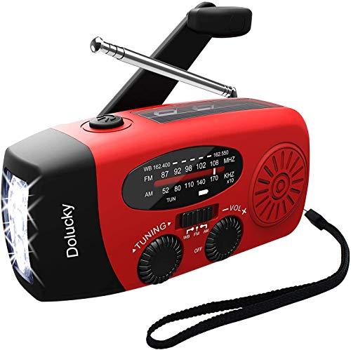 Dolucky Emergency Hand Crank Solar Radio, Self Powered AM/FM/NOAA Solar Weather Radio with 3LED Flashlight, 1000mAh Power Bank for Smart Phone (Red)