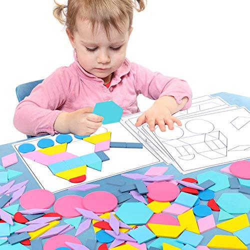 Catkoo 180Pcs Macarrón De Madera Color DIY Tarjeta De Rompecabezas Geométrico Juguete De Aprendizaje para Niños, Entrenamiento Perfecto Regalos De Inteligencia para Niños Multicolor