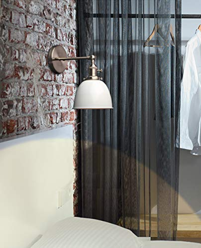 Phansthy 2 Stücke Deckenhalbkreis mit Metall-Schirm Wandbeleuchtung Wandleuchten Vintage Industrie Loft-Wandlampen Antik Deko Design Wandbeleuchtung Küchenwandleuchte (Weiß)