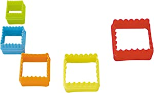 R&M International Square Cookie and Biscuit Cutters, Assorted Sizes, Bright Colors, 5-Piece Set