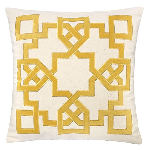Homey Cozy Applique Throw Pillow Cover,Celtic Knot Yellow Cotton Canvas Large Sofa Couch Pillow Sham,20x20 Cover Only