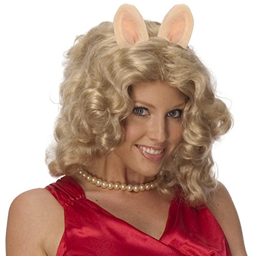 The Muppets Miss Piggy Curly Blonde Wig w/ Ears & Pig Nose Costume Accessory Kit