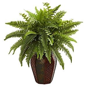 Nearly Natural Boston Fern Artificial Decorative Planter Silk Plants Green