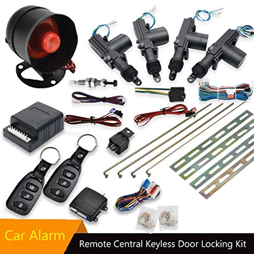 MASO Car Remote Central Locking Kit 4 Doors Keyless Entry System + Anti-Theft Alarm Immobiliser System with Shock Sensor Universal Fits for All Car