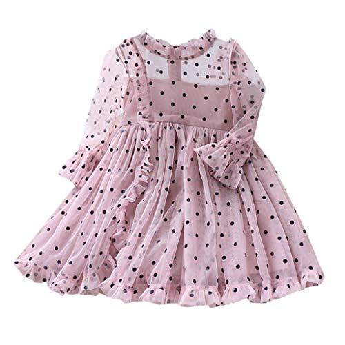 BUKINIE Robe bébé Fille pour 1-5 Ans Robe de Princesse à Pois à Manches Longues en Maille Tutu Robe de soirée de Mariage(Rose,18-24 Mois)