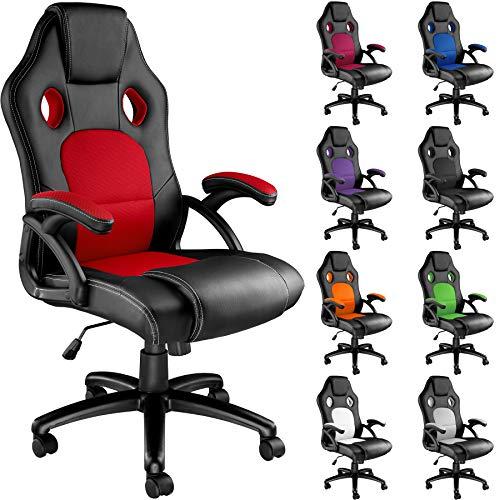 TecTake - Sedia da gaming 403465 con sedile avvolgente, vari colori (nero rosso)