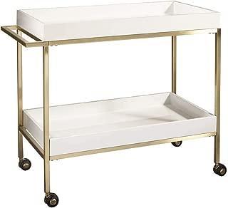 Pulaski Brushed Gold & White Bar Cart Accents, Gold
