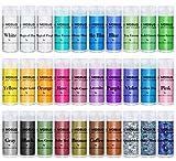 MOSUO Pigments Poudre de Mica, 30 Couleurs Colorant de Savon(5g), Pigment Resine Epoxy Pailletées Naturel Minerale pour Bougies, savons, Boules de Bain, cosmetiques, Vernis à Ongles et Peinture