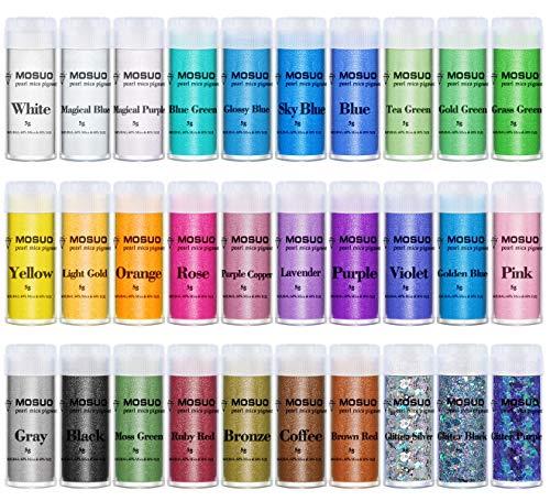 MOSUO Pigmentos en Polvo, 5g*30 Colores Natural Mica Tintes para teñir Resina Epoxi, Jabones, Slime, Cera, Pintura, Vela, Uñas, Cosmético y Arte de Bricolaje - Metalizados Colorante