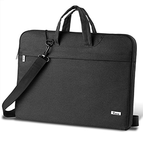 Voova Laptop Bag 17 17.3 inch Waterproof Laptop Sleeve Case with Shoulder Straps & Handle/Notebook Computer Cover Briefcase Compatible with MacBook/Acer/Asus/Dell, (Black)