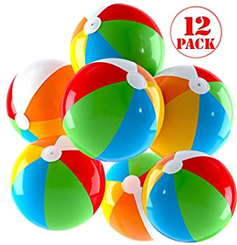 Top Race Inflatable Beach Balls Jumbo 24 inch Pool Balls Beach Summer Parties and Gifts | 12 Pack Blow up Rainbow Color Beach Ball  12 Balls