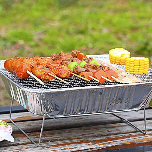 51fRj 9jmyL. SL500  - Mothcattl Barbecue-Ofen, Einweg-Grill, tragbar, für Zuhause, Outdoor, Picknick, Grill mit Holzkohle silber
