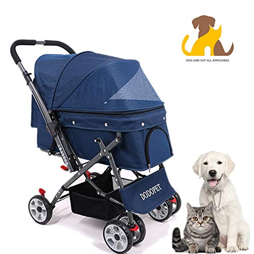 Nwayd Huisdier kinderwagens, Trolley, Rits Entry, Oversized opbergmand, Gemakkelijk Eenhandsvouwen, Luchtbanden, Geschikt voor katten, honden kleine en middelgrote huisdieren.