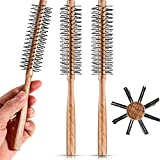 3 Pieces Small Round Barrel Brush for Short Hair, 1.2 Inch Bang Brush Quiff Roller Nylon Bristle for Styling, Beard, Thin Hair, Fine hair, Curling (Natural Wood Color)