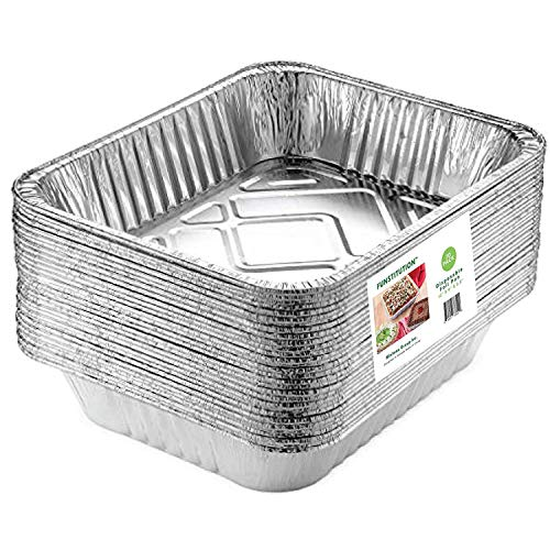 Aluminum Foil Pans(30 Pack) - 9x13 Inches Foil Trays with High Heat Conductivity - Disposable Cookware For Baking, Grilling, Cooking, Storing and Prepping - Recyclable Material