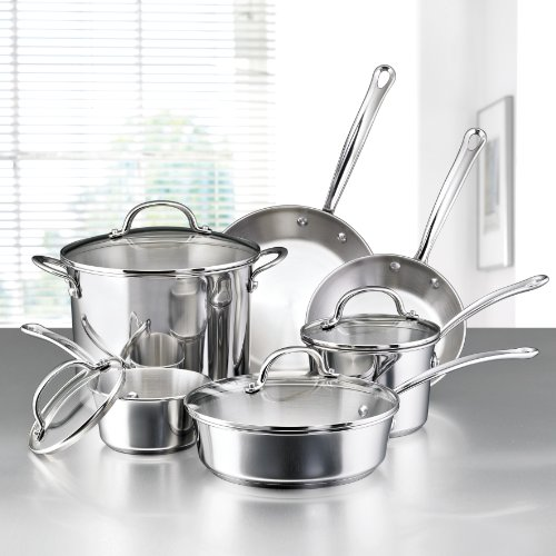 Farberware 75653 Millennium Stainless Steel Cookware Pots and Pans Set, 10 Piece