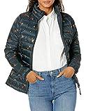 Amazon Essentials Chaqueta Ligera de Manga Larga con Cremallera Completa, Resistente al Agua y Plegable. Down-Alternative-Outerwear-Coats, Floral Azul Marino, 38-40