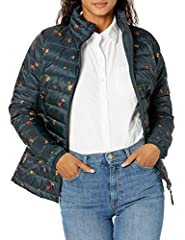 """Contoured seams bring a fitted shape to this water-resistant lightweight quilted coat Zip pockets, stand-up collar, elasticized cuffs, packs neatly into included carrying bag with drawstring closure Model is 5'10"""" and wearing size Small"""