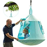 HAPPYPIE Hanging Tree Tent for Kids Indoor and Outdoor Waterproof Tree Swing Pod Includes LED Lights and Swing Set Accessories,Max Capacity 330 lbs-Sky Blue