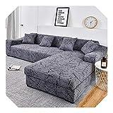U-see Funda elástica de algodón para sofá de esquina en forma de L para sala de estar, color sólido, 3 – 2 plazas y 3 plazas