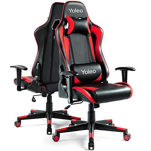 Gaming Stuhl YOLEO Bürostuhl Gamer Ergonomischer Stuhl Einstellbare Armlehne Einteiliger Stahlrahmen Einstellbarer Neigungswinkel Gaming Chair Rot